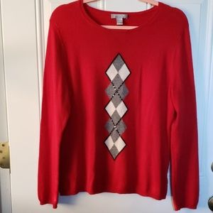 Charter Club Sweaters - CHARTER CLUB RED AND ARGYLE PRINT SWEATER SZ. L